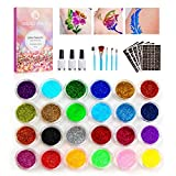 Glitzer Tattoo Set fr Kinder, Temporre Glitzer Tattoo-Kit mit 24 Groen Glitzertuben und 160 Schablonen, Flash-Tattoos Make Up Krper Glitzer fr Jungen Mdchen Erwachsene Festival Party