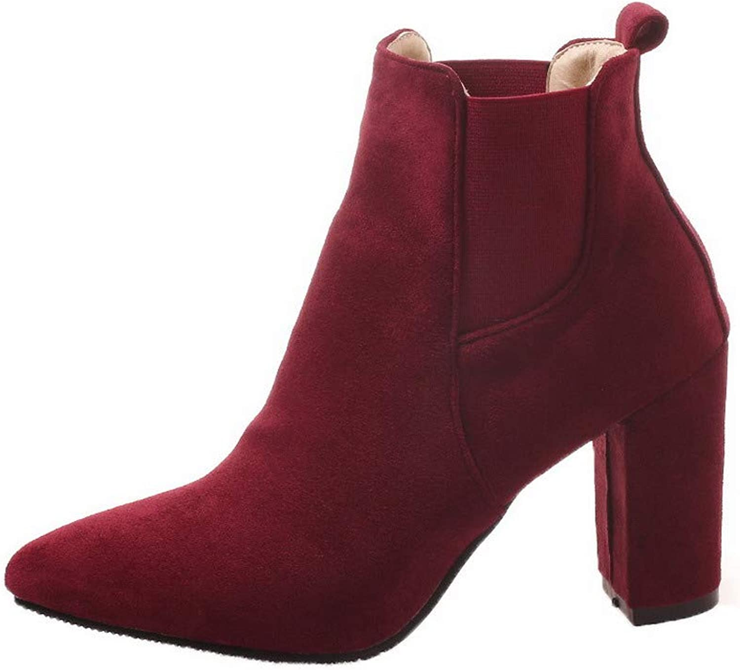 AllhqFashion Women's Solid High-Heels Pointed-Toe Imitated Suede Pull-On Boots, FBUXD116928