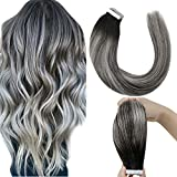 LaaVoo Tape in Hair Extensions Balayage Silver Blonde Straight Tape ins Hair Glue on Hair Invisible Tape in Remy Hair Extensions Balayage Black to Silver Mixed Black Tape on Black Hair 50gram 16inch