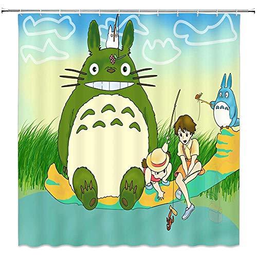 wobuzhidaoshamingzi schattige douche gordijn Cartoon mijn buurman en vrienden spelen in de buurt van rivier aquarel voor kinderen badkamer gordijnen