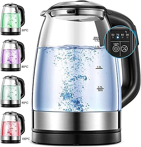 Wasserkocher mit Temperatureinstellung, 1.7L Elektrischer Glaskessel, 2200W Farbwechsel LED Temperatur Einstellbar Glaswasserkocher, 2 Stunden Warmhaltefunktion Teekocher, Edelstahl Innendeckel.