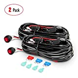 Nilight 2PCS 16AWG LED Light Bar Wiring Harness Kit - 2 Leads 12V On Off Switch Power Relay Blade Fuse for Off Road Lights LED Work Light, 2 Years Warranty