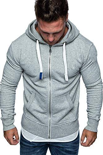 NTNY3 Felpa Uomo con Zip con Cappuccio Giacca Ragazzo Casual Slim Fit Giacche Eleganti Felpe Uomini con Cerniera Sportiva Hooded Sweatshirt Leggera Sportivo Outwear Inverno Autunno (Grigio Chiaro, L)