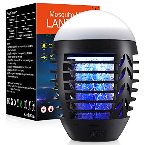 Bug Zapper Powerful Insect Killer Electric Mosquito Zappers Killer - Insect Fly Trap with Camping Lamp for Outdoor and Indoor