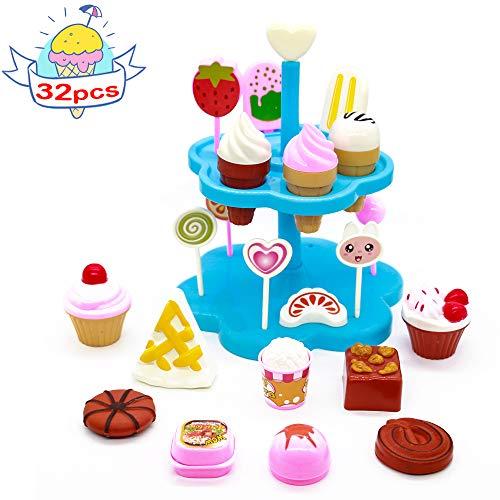 Cocina Set Comida Juguete Fiesta Cumpleaños Infantil Helados Juguete Juego de Roles - DIY Postres y Helado de Imaginación Set para niños 3 años (32 Pcs )