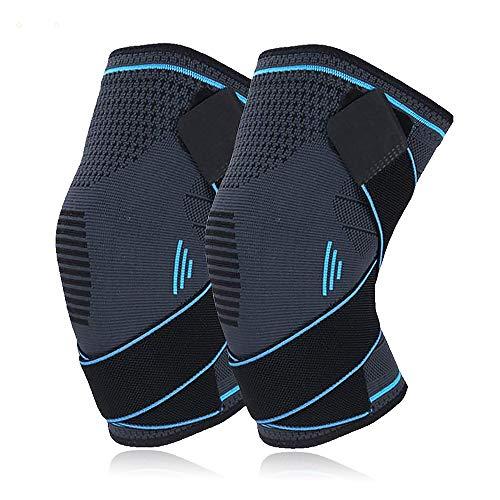 MCSWSEA - Rodillera deportiva (2 unidades, con correas ajustables antideslizantes, para aliviar el dolor de articulaciones, artritis ACL y menisco, voleibol, hombres y mujeres (grande)