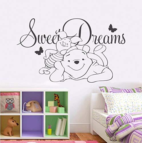 Adesivi Murali-Personaggi Di Anime Dei Cartoni Animati Di Winnie The Pooh 71X42Cm Adesivo Murale/Carta Da Parati/Poster/Silhouette Per La Decorazione Domestica