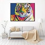 ganlanshu Colorido Perro, Gato y Tigre Animal Cabeza Pintura sobre Lienzo,Pintura sin Marco,45x60cm