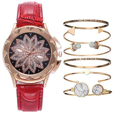 GYR Reloj de Cuarzo para Damas, Reloj de Puntero de Flores Calado con Diamantes para Enviar 6 Pulseras a Juego, Reloj de Regalo para niña gjkl Rojo