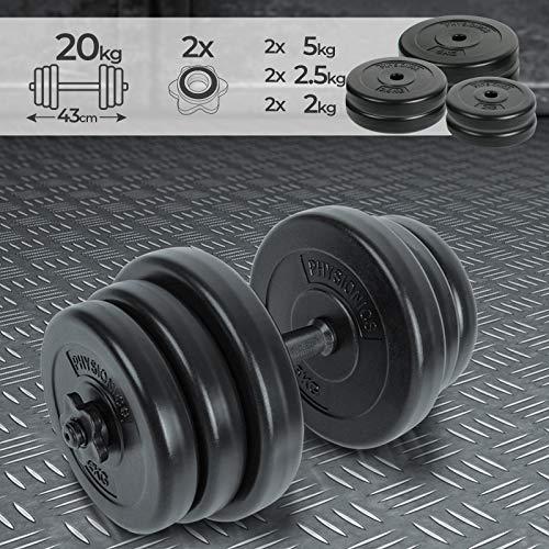 Physionics® Kurzhantel Set 20kg - inkl. 6 Gewichte aus Kunststoff, 1 Hantelstangen und 2 Sternverschlüssen aus Eisen und Kunststoff, Griff gerändelt, Ø 25 mm - Hantelstangen, Kurzhanteln