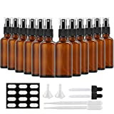 2oz Amber Glass Spray Bottles, SXUDA 12 Pack Empty Small Fine Mist Spray Bottles for Essential Oils, Cleaning Products, or Aromatherapy