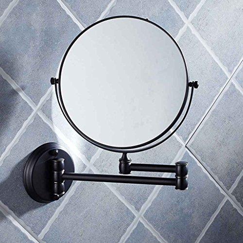Miroirs de vanité Pliant Noir de Salle de Bains d'hôtel télescopique Double Face Mural à Deux côtés Repliable 6 Pouces / 8 Pouces (Taille : Diameter 20cm)