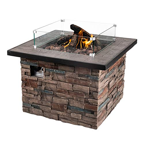 Dmode Outdoor Propane Fire Pit Table Square 50,000 BTU Outdoor Patio Rustic Farmhouse Wood Finish, Free Lava Rocks Glass Cover 20 Gal/LB