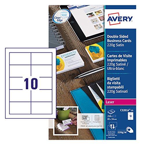 Avery Quick&Clean visitekaartjes, dubbelzijdig bedrukbaar, zijdeglans
