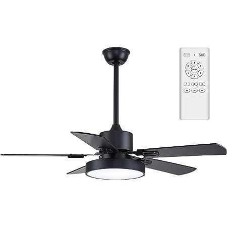 YFoliage Ventilateur de Plafond avec LED Lampe, 2 En 1 Ventilateur et Plafonnier Led-5 Pales Ventilateur Moderne-35W DC Réversible Ø132*50 cm | 6 Vitesses et 3 Températures de couleur | Télécommande