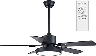 YFoliage Ventilateur de Plafond avec LED Lampe, 2 En 1 Ventilateur et Plafonnier Led-5 Pales Ventilateur Moderne-35W DC Ré...