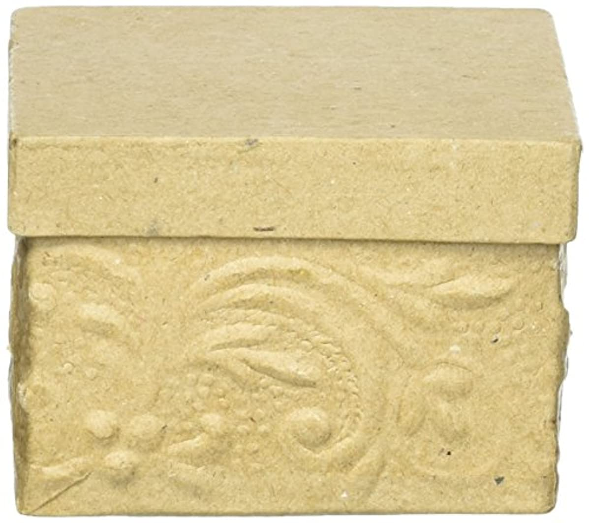 Darice 3 inch, Square Embossed Paper Mache Box, 3