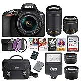 Nikon D3500 DSLR Camera with AF-P 18-55mm and 70-300mm Zoom Lenses + 64GB Card +...