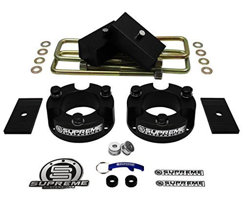 """Supreme Suspensions - Full Lift Kit for 2005-2020 Nissan Frontier 3"""" Front Lift Strut Spacers + 2"""" Rear Lift Blocks + Square Bend U-Bolts + Axle Shims 2WD 4WD (Black)"""