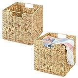 mDesign Juego de 2 cajas de almacenaje – Cajas organizadoras plegables hechas de junco marino – Cestas de almacenaje ideal para ropa, juguetes o revistas – Canasta con patrón trenzado – color natural