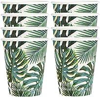 Förpackning med 8 (250 ml) vita och gröna partykoppar med tropiskt palmbladspapper Desing| Hemma återvinningsbar,...