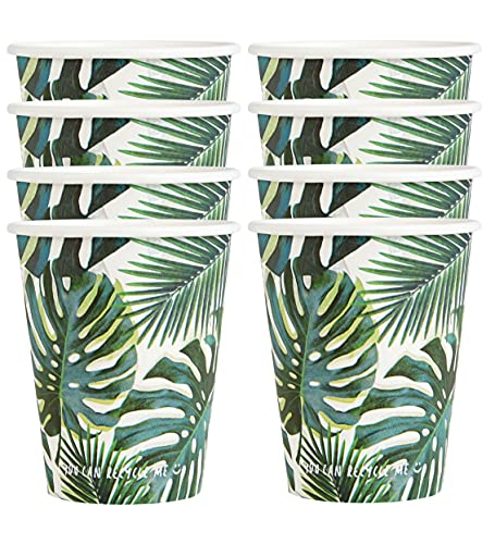 Talking Tables 8pk (250ml/9oz) Tropical Paper Party Cups | 'HOME' Recyclable Disposable , Eco-friendly & Plastic Free | For Summer Garden BBQ, Kids Birthday, Celebration, Jungle, Hawaiian, Fiesta
