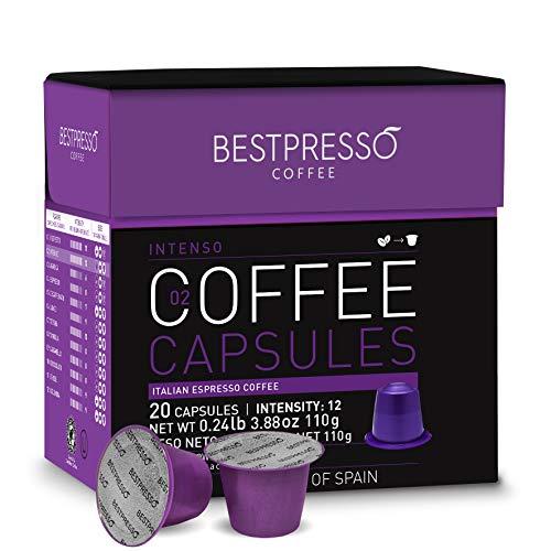 Bestpresso Coffee for Nespresso Original Machine 120 pods Certified Genuine Espresso Intenso Blend(High Intensity), Pods Compatible with Nespresso Original 60 Days Satisfaction Guarantee
