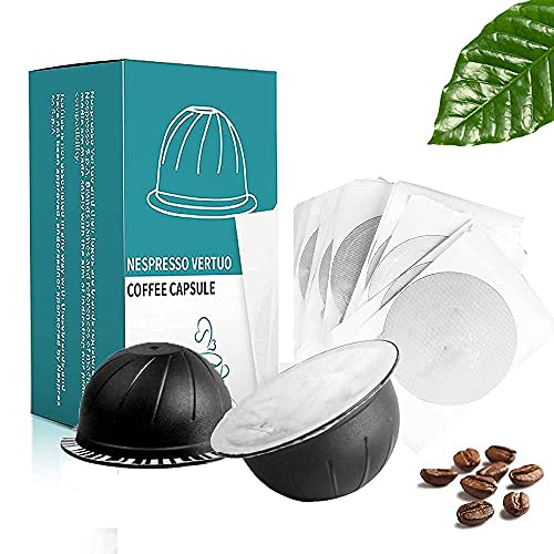MG Coffee Reusable Vertuo Capsules Refillable Coffee Pods with Espresso Aluminum Foils for Nespresso Vertuo Coffee Machines GCA1 and De'Longhi ENV135S