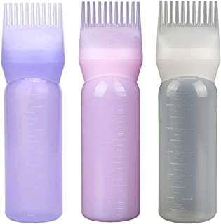 Lurrose 3pcs Applicator Bottle Root Comb Hair Dye Bottle Plastic Squeeze Bottles for Hair Coloring and Scalp Treament (White, Pink, Purple)