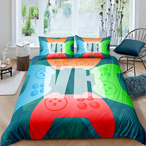 Castle Fairy Colorful Vr Gamepad Comforter Cover for Kids Boys Girls Young Men Gamer Black Duvet Cover Breathable VR Game Fashion Bedspread Cover Modern Game Controller 3Pcs Bedclothes King 104x90
