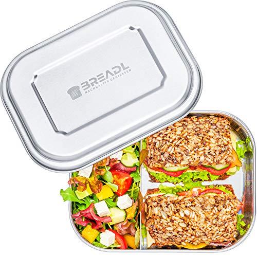 BREADL® Edelstahl Brotdose, Spülmaschinenfest, Plastikfrei, 22x17x6cm, 1400ml, BPA-frei, Trennwand und 2 Fächer, Lunchbox & Bento-Box für Kinder & Erwachsene