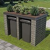 Festnight Gabione Mülltonnenbox mit Hochbeet | Gartenbox Storer Geraetebox abschliessbar für 2 Mülltonnen, 190×100×130 cm