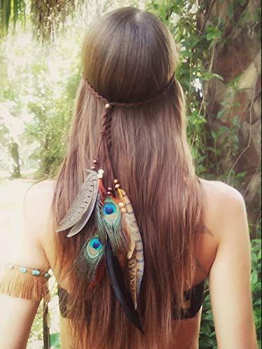 Ushiny 1920s Feder Stirnband Indianer Federn Kopfschmuck Boho Hippie Kopfschmuck Haarschmuck für Frauen und Mädchen (Grün)