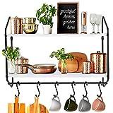 BOLUO Kitchen Wall Shelf White Floating Shelves Bathroom Mounted Shelving with Towel Bar Hooks for Coffee Mugs Modern Shelfs 24 Inch (WS604-60W)