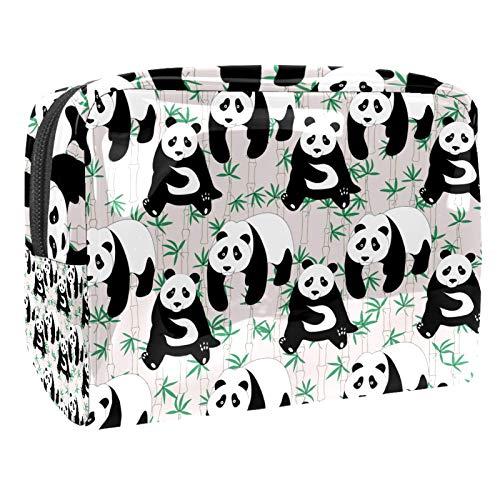 Bolsa de maquillaje portátil con cremallera, bolsa de aseo de viaje para mujeres, práctica bolsa de almacenamiento cosmético, bonito diseño de panda de bambú