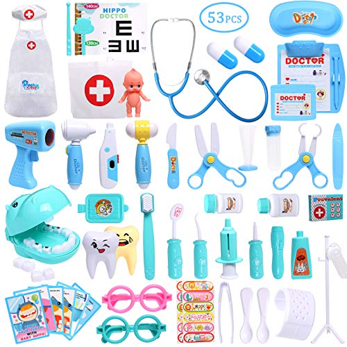TNELTUEB 53 PCS Doctor Playset, Toddler Doctor kit with Stethoscope Pretend Dentist Medical Toy Gifts for Boys and Girls Doctor Role Play or in The Classroom and on Holidays