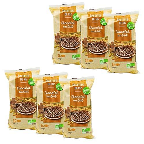 Lot 6x Galettes de riz chocolat au lait BIO - paquet 100g