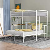 Metal Bunk Bed with Desk Twin Over Full Loft Beds with Desk Sturdy Metal Frame with Ladder and Safety Rails,White