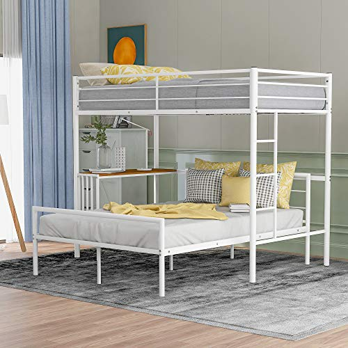 Metal Loft Bunk Bed with Desk/Ladder/Safety Rail, Twin Over Full Bunk Bed Frame Can Be Separated Into 2 Beds for Kids Teens Online Learning, Space-Saving Design, Combination Bed (White)