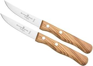 "Schwertkrone Küchenmesser Set Solingen - Obst- & Gemüse-Messer, 2er Set, Edelstahl, rostfrei, Olivenholz, Rückenspitz 3"""""