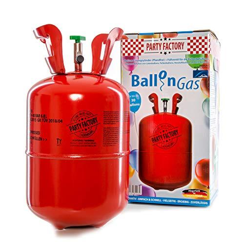 Party Factory Heliumflasche mit Ballongas für bis zu 30 Heliumballons oder Luftballons