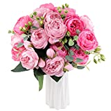iYoucase Artificial Peony Silk Flowers Bouquet Vintage Fake Flowers Faux Peonies Flowers 3 Bundles for Home Wedding Decoration(Rose Red+Pink)