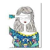 YuanMinglu Decoración nórdica Pop Art Poster Fresh Beautiful Girl Lienzo Color Cup Pared Imagen sin Marco 60x80cm