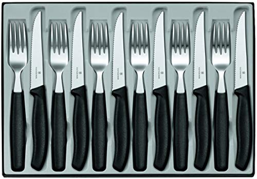 Victorinox Swiss Classic 12-tlg. Besteck Set, für 6 Personen, 6 x Steakmesser, 6 x Tafelgabel, Spülmaschinengeeignet, schwarz