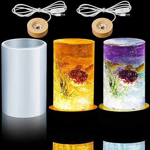 3 Pieces Cylinder Light Resin Mold Set, Include Cylinder Light Resin Mold and 2 Pieces USB Powered Wooden Lighted Base Stand for DIY Desktop Ornaments Table Lamp Table Candle Home Decorations