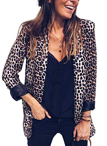 GOSOPIN Damen Blazer Langarm Sakkos knopflos elegant Damen Jacke Cardigan Geschäft Büro Office Suit Leopard Slim Business Anzüge Trenchcoat Kurz Mantel Arbeitskleidung