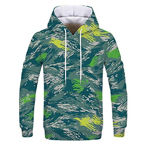 Tzzdwy herentrui met capuchon, casual, los, personaliseerbaar met camouflage-opdruk en trui in oversized