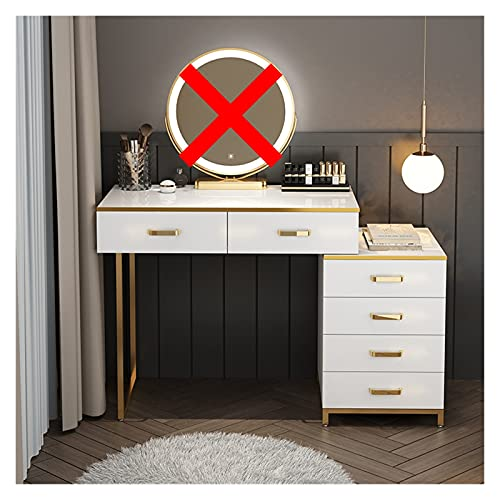 YSJJYQZ Tocador Cómodas de Lujo Ligero Casas de Vestir de Princesa nórdicas con Muebles de Dormitorio Espejo Moderno tocador de tocador Silla de Maquillaje (Color : E 80CM Table)