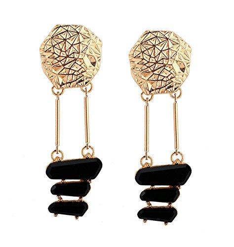 Epinki Damen Ohrringe Vergoldet Vieleck Schwarz Glas Ohrstecker Damenohrringe Gold 20x65MM