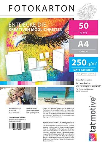 TATMOTIVE F01M50 Fotokarton Fotopapier 250g matt weiß/Laserdrucker/DIN A4 / Beidseitig bedruckbar / 50 Blatt